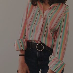 Thomas Pink Striped Tailored Button Down Shirt